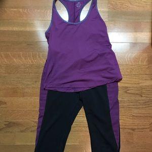 Purple and black activewear set